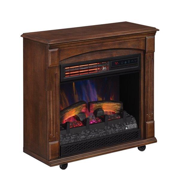 Rolling Mantel With Infrared Quartz, Quartz Electric Fireplace